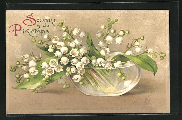 AK Souvenir de Printemps, Frühlingsgruss mit Maiglöckchen