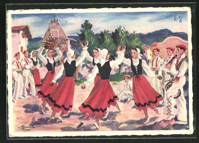 Künstler-AK Charles Homualk: Sagar-Dantza, Danza de las Manzanas en Navarra