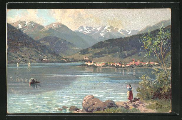 Künstler-AK Robert Kämmerer: Blick über einen See am Fusse der Berge