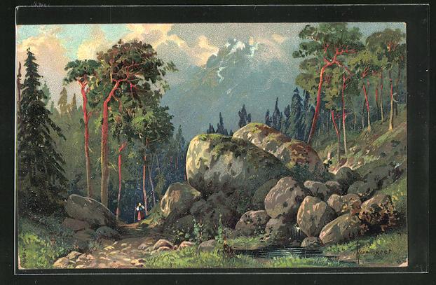 Künstler-AK Robert Kämmerer: Riesige Felsbrocken an einem bewaldeten Berghang