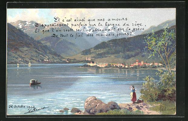 Künstler-AK Robert Kämmerer: Frau blickt über einen See zum Gebirge
