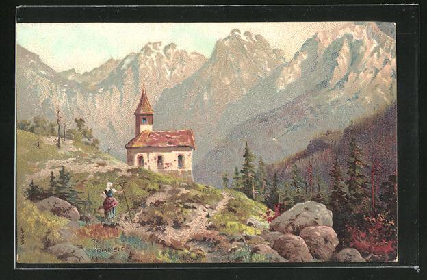 Künstler-AK Robert Kämmerer: Kleine Kapelle in den Bergen