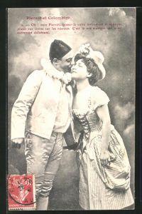 AK Harlekin küsst junge Dame