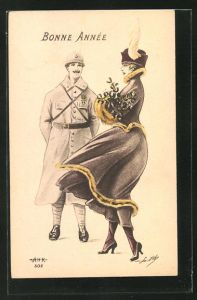 AK Bonne Annee, Frau im Kleid mit Hut