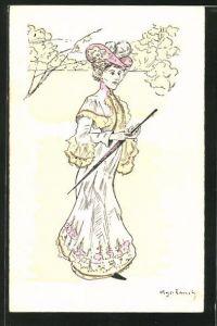 AK Frau im Kleid mit Hut & Schirm