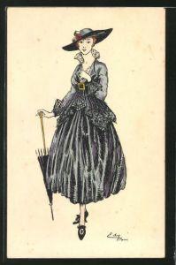 AK Dame im schwarzen Kleid mit Hut & Schirm