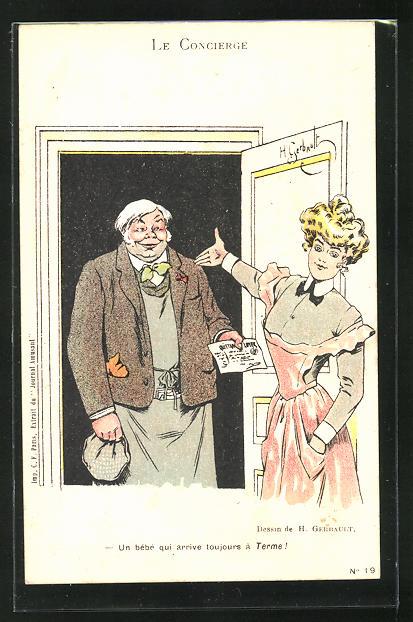 Künstler-AK sign. H. Gerbault: Le Concierge, Un bebe qui arrive toujours a Terme