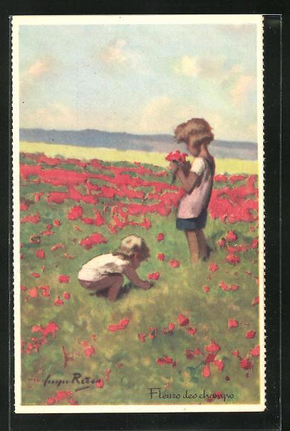 Künstler-AK sign. Georges Redon: Fleurs des champs, Kinder auf einer Blumenwiese