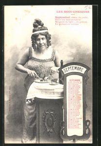 AK Les Mois Comiques, Monat September / Septembre, junge Frau geniesst ihr Essen