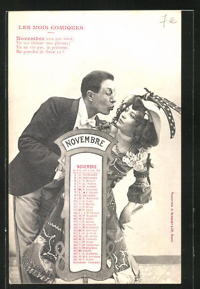 AK Les Mois Comiques, Monat November / Novembre, junger Mann versucht eine Frau zu küssen