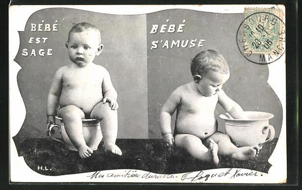 AK Toilettenhumor, Bebe est Sage, Bebe s'Amuse, nackter Junge auf einem Töpfchen
