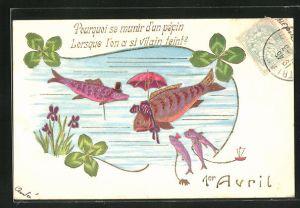 Präge-AK 1er Avril, Pourquoi se munir d`un pépin..., Fischfamilie