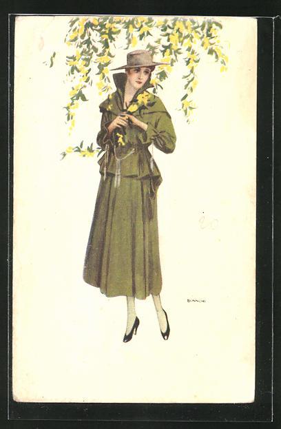 Künstler-AK Bianchi: Dame im Mantel mit Hut unterm Blütenzweig