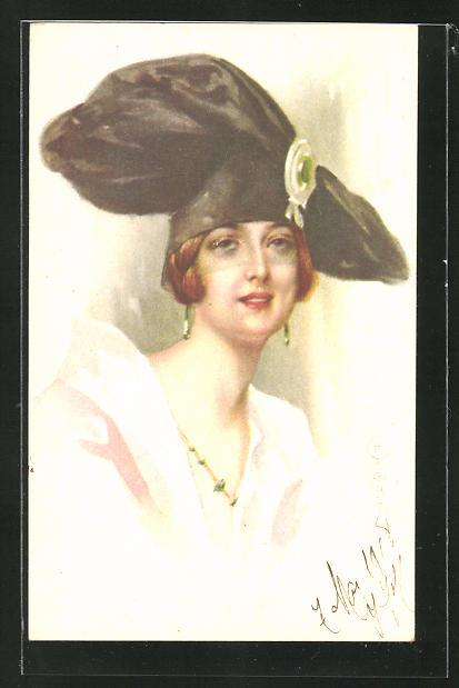 Künstler-AK E. Colombo: Junge Dame mit extravagantem Hut mit Gesichtsnetz