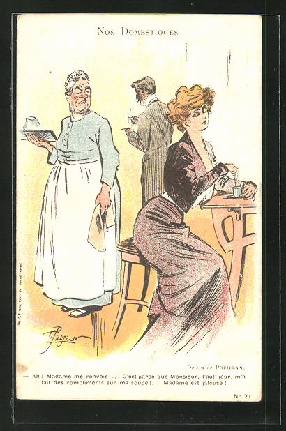 Künstler-AK sign. Prejelan: Nos Domestiques, mürrische Wirtin und hübsche Dame