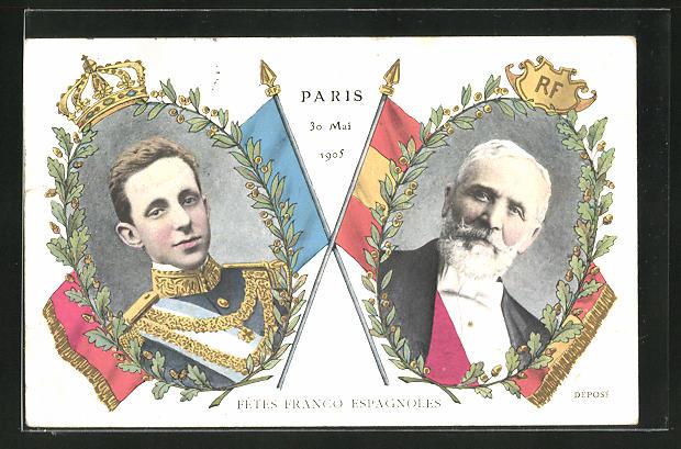 AK Paris, Fetes Franco Espagnoles, Präsident von Frankreich & König von Spanien