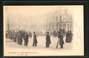AK Paris, Incendie du Theatre-Francais le 8 Mars 1900, Feuerwehr beim Brand