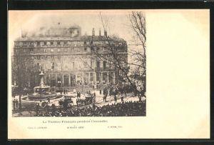 AK Paris, Le Theatre Francais pendant l`incendie 8. Mars 1900