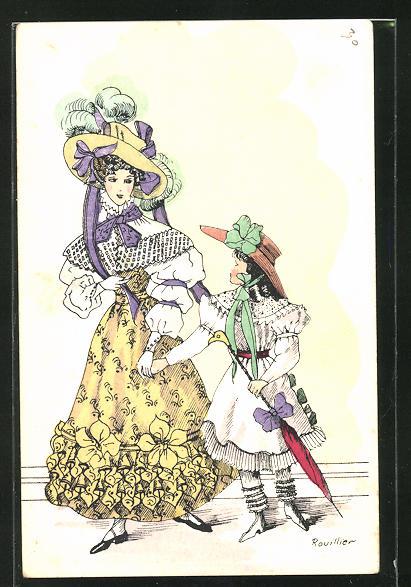 Künstler-AK sign. Rouillier: Mutter mit Tochter in eleganten Kleidern