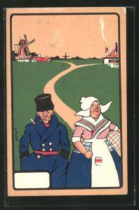 Künstler-AK sign. C.K. Cook: Holländisches Ehepaar auf einem Spaziergang