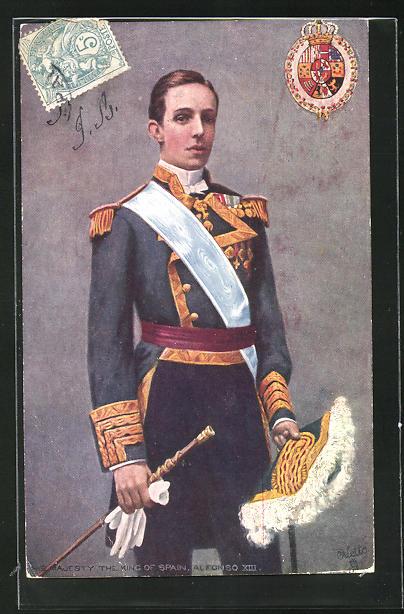 AK Bildnis Alfonso XIII. König von Spanien in Uniform 0