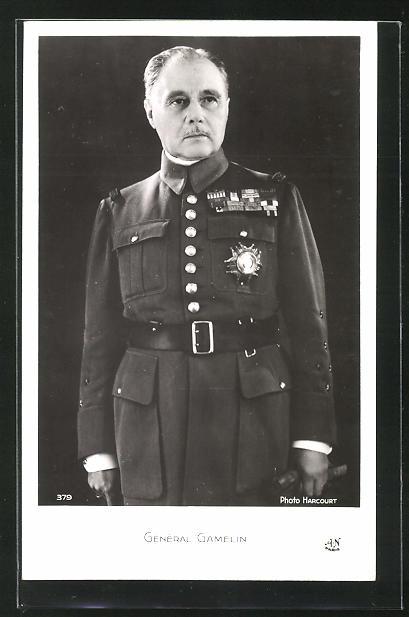 AK Bildnis des französischen Generals Gamelin mit Orden an der Uniform