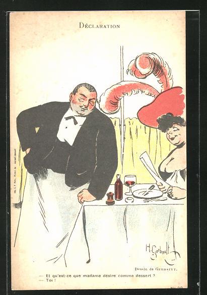 Künstler-AK sign. H. Gerbault: Kellner bedient eine korpulente Dame 0