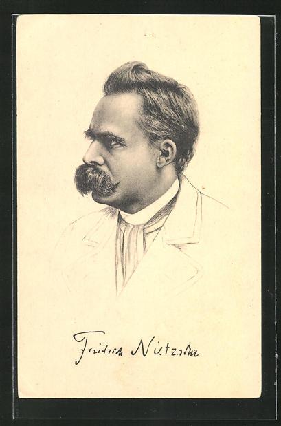 AK Portrait Friedrich Nietzsche mit Schnauzbart