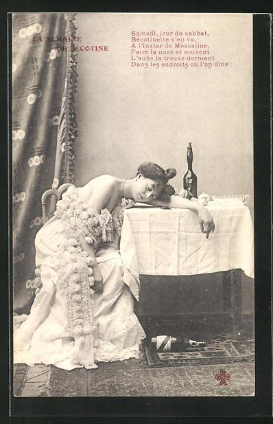 AK La Semaine de Becotine, Betrunkene Frau ist am Tisch eingeschlafen 0