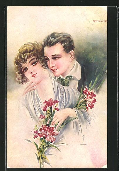 Künstler-AK M. Santino: Liebespaar mit Blumen