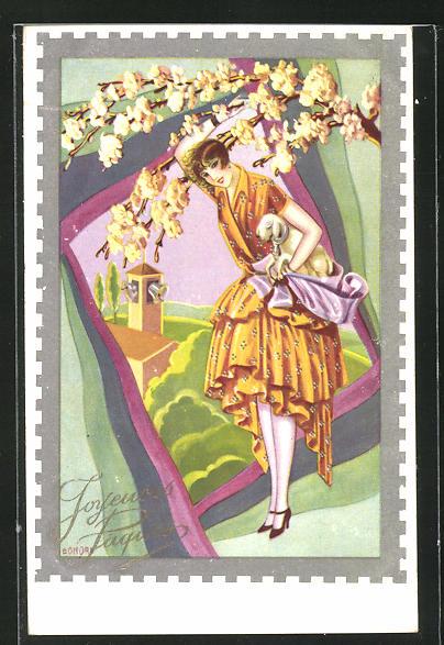 Künstler-AK sign. Bonova: Junge Frau mit einem Osterlamm und Baumblüte, Ostergruss 0