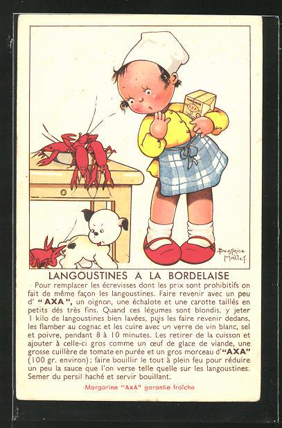 Künstler-AK Beatrice Mallet: Reklame für Margarine AXA, Rezept Langoustines a la Bordelaise, Kochmädchen mit Margarine 0