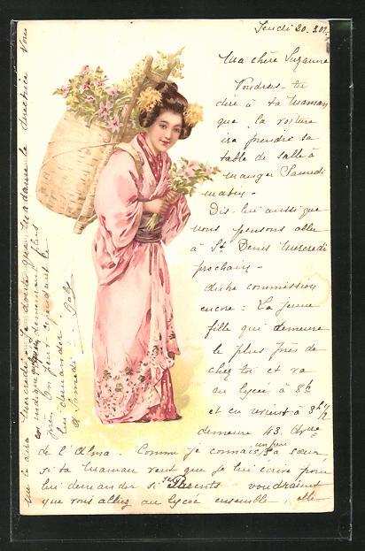 Künstler-AK M. S. M.: Japanerin im Kimono mit Korb 0