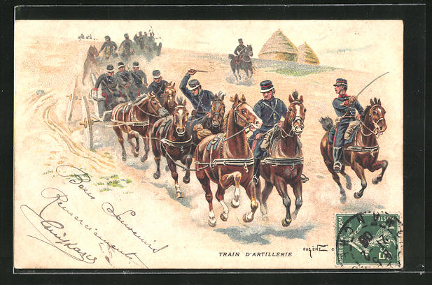 Lithographie Train d`Artillerie, Geschütze werden in Stellung gefahren