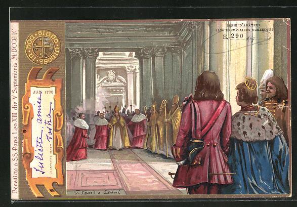 Künstler-AK Papst Leo XIII. und der König, Jub. 1700