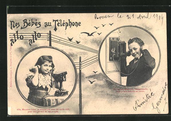AK Junge spricht am Telefon mit einem Mädchen 0