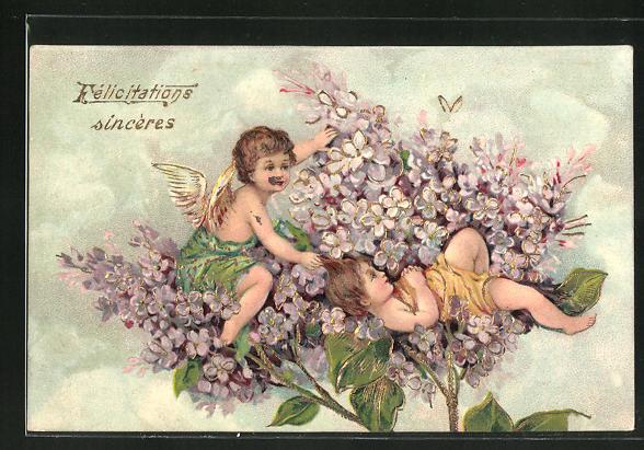 Präge-AK In Blüten sitzender Engel bewacht ein Mädchen 0