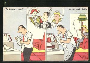 AK Un homme averti..., ...en vaut deux, Ehemann beim Abwaschen