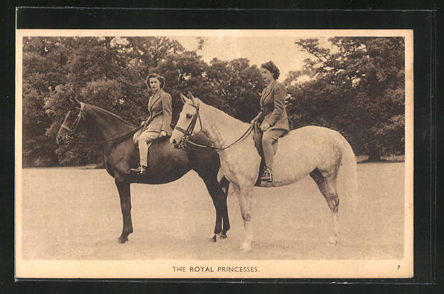 AK The Royal Princesses, Prinzessinnen von England zu Pferd 0