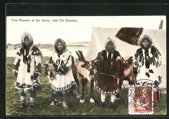 AK Four Beauties of the Arctic, with Pet Reindeer 0