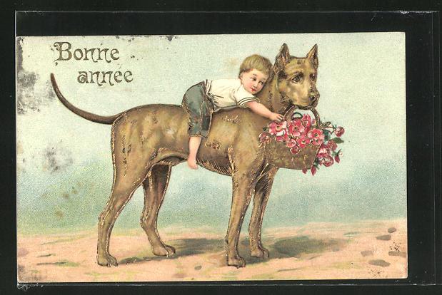 Präge-AK Kind reitet auf einem Hund mit Blumenkorb im Maul, Neujahrsgruss 0