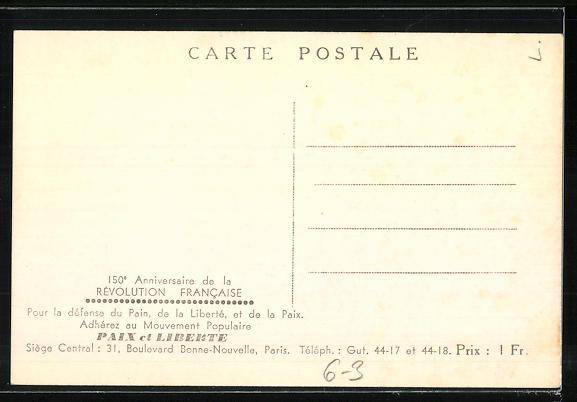 AK Paix et Liberte, Marat, Robespierre, Saint-Just, 1789-1939, französische Revolution 1