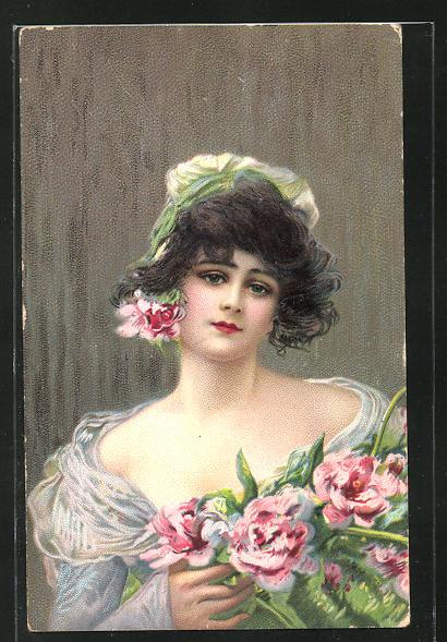 Lithographie Maid mit dunklem Haar und Blumen 0