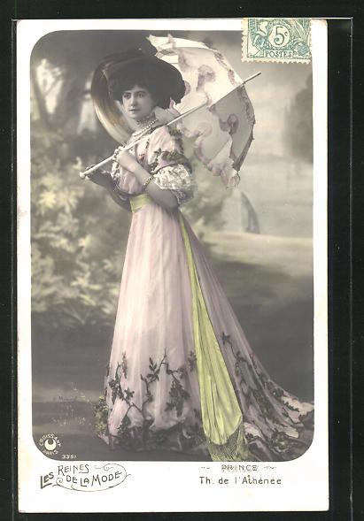 AK Reines de la Mode, Prince, Th. de l`Athénée, Portrait Schauspielerin mit Schirm 0