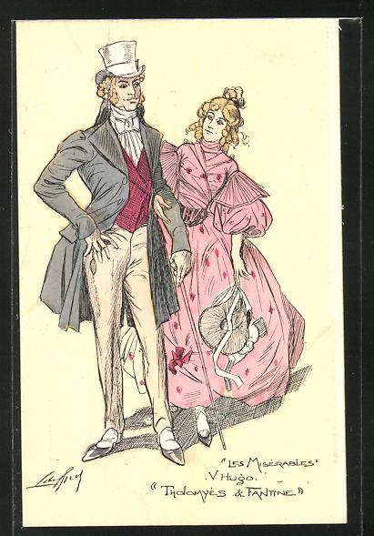 Künstler-AK Victor Hugo, Les Miserables, Tholomyés & Fantine 0