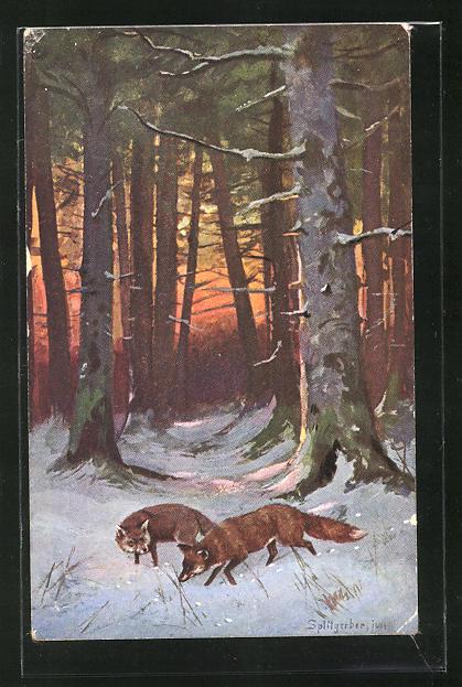 Künstler-AK August Splitgerber: zwei Füchse im Schnee