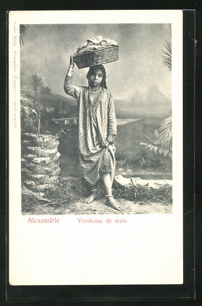 AK Alexandrie, Vendeuse de mais, junge ägyptische Maisverkäuferin 0