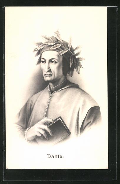 AK Dante Alighieri, Burstportrait mit Buch und Lorbeerkranz 0