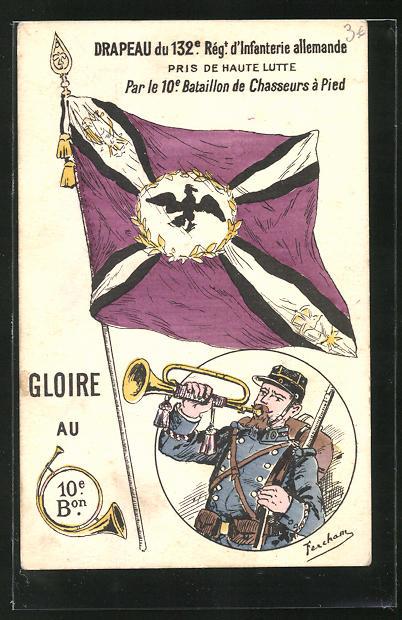 Künstler-AK Drapeau du 132e Régt. d`Infanterie allemande, eroberte deutsche Fahne 0