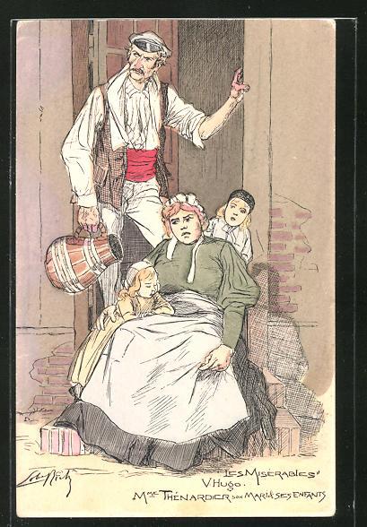 Künstler-AK Victor Hugo, Les Misérables, Mme Thénardier son Mari & des Enfants